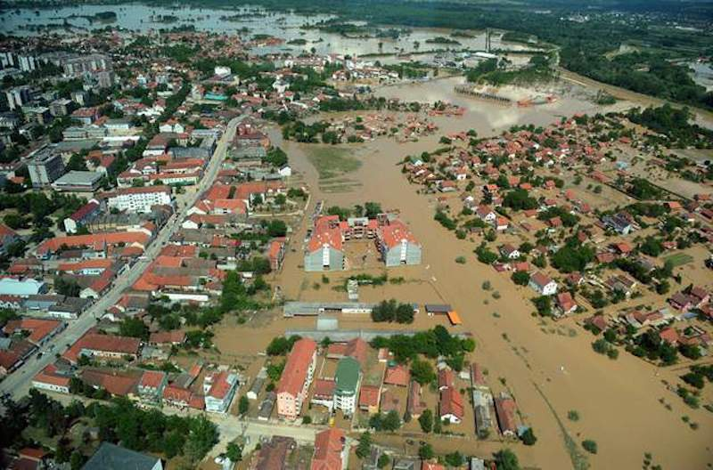 The flooded town of Obrenovac, 40 kilometers west of Belgrade, is seen May 19. pgoto by Alexa Stankovic 7