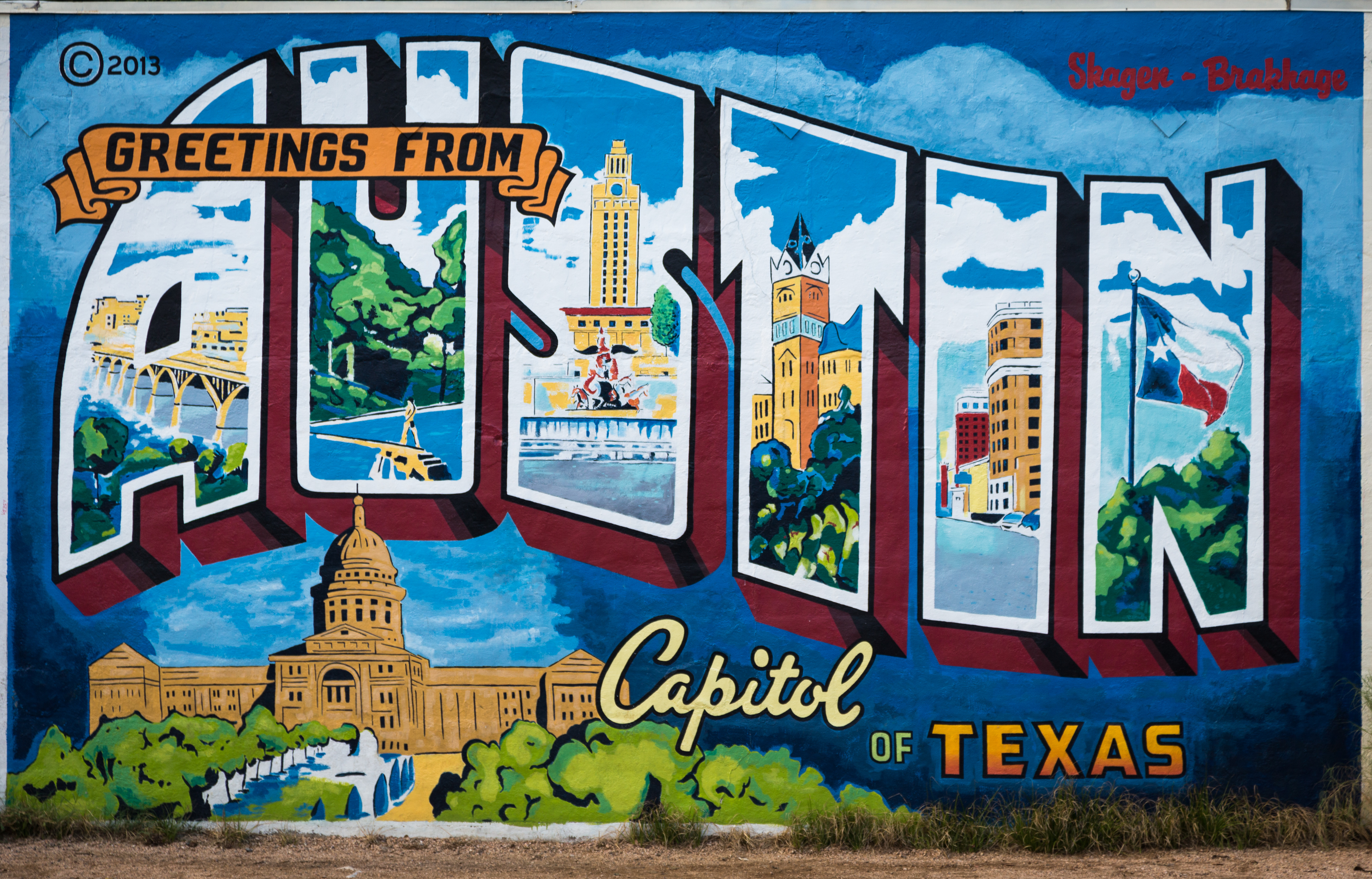 Greetings From Austin Postcard Mural Surf Collective Nyc